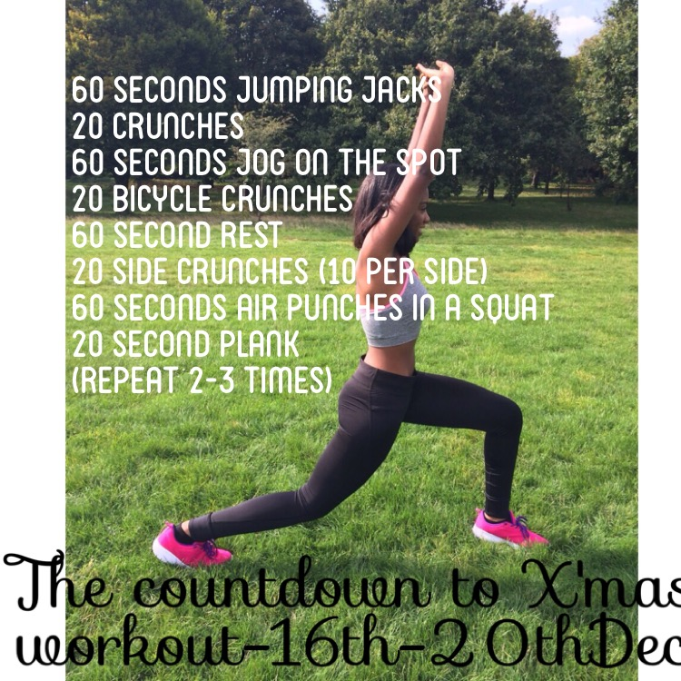 THE COUNTDOWN TO X'MAS WORKOUT: PART 3:- CARDIO AND CORE
