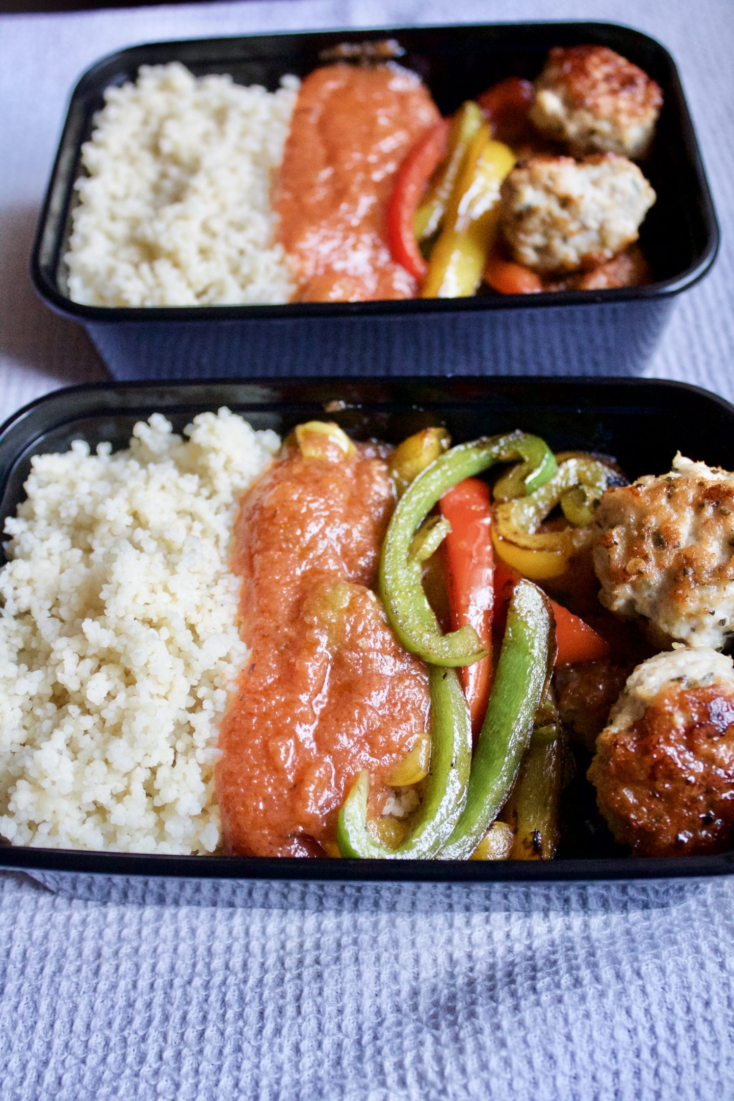 MEAL PREP BOWL- TURKEY MEATBALLS WITH COUSCOUS, GHANAIAN STEW AND SAUTÉED PEPPERS