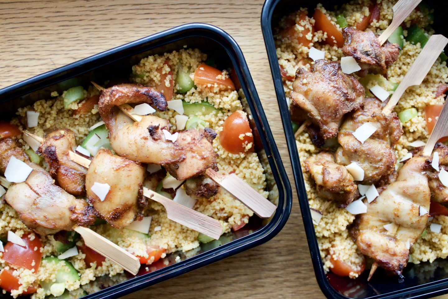 SUYA & KPAKPOSHITO CHICKEN SKEWERS WITH A SMOKY PAPRIKA COUSCOUS SALAD | PACKED LUNCH