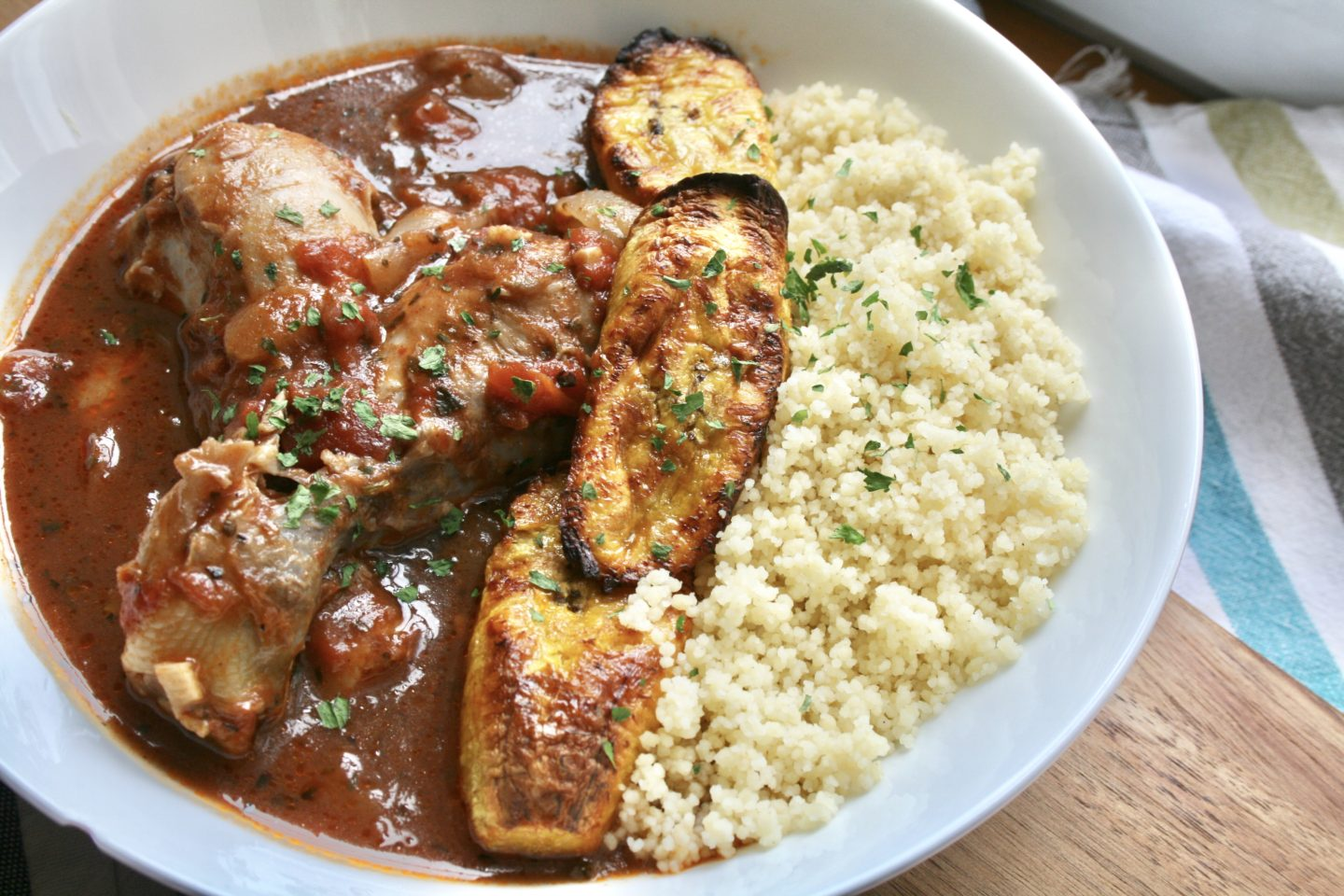 CHICKEN CASSEROLE WITH ROASTED PLANTAIN AND COUSCOUS DINNER